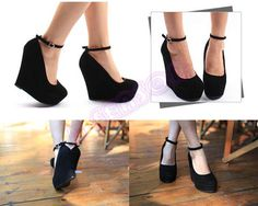 Our most popular 2013 Black Platform Wedge. Ankle strap is comfortable and snug. This platform wedge is perfect for any occasion.  So Cute!♥♥♥  #wedge #platformwedge #blackwedge