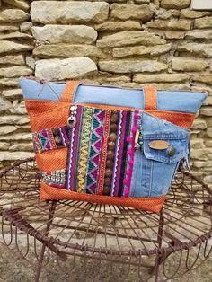 Sac Biguine en jean recyclé et toile sysal orange cousu par Nadege - Patron Sacôtin