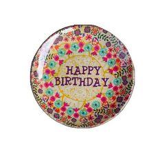 Natural Life MPLT034 Melamine Plate, Mini, Happy Birthday