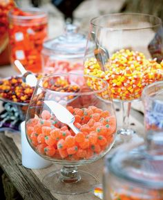 Candy bar at a Halloween wedding or party Find GF candies and serve up in assorted sizes of glass containers