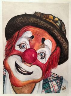 """Watercolor Clown #14 Jonathan """"Mitch"""" Freddes 9 X 12 on Canson 140 lb Cold pressed paper Original Sale Pending"""
