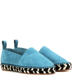 Proenza Schouler - Suede espadrilles - Long may the luxe espadrille reign supreme. This style from Proenza Schouler is super cool, crafted from soft blue suede and black and white woven raffia. Sleek and chic, it's perfect with soft tailoring or floaty day dresses. seen @ www.mytheresa.com