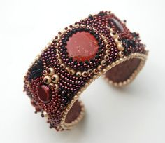 Rust Never Sleeps  Bead Embroidery Cuff by totallytwisted on Etsy