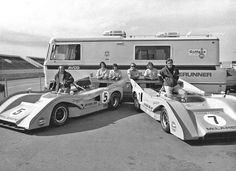 Denny Hulme and Peter Revson with their McLaren M8F Can-Am cars in Edmonton.