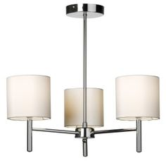 Endon BRIO-3CH Brio 3 Light Chrome Semi-Flush Ceiling Light With Faux Silk Shades