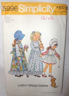 Holly Hobbie Girl's Dress 1973 Vintage Simplicity Pattern 5996 Country Girl