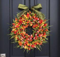 Orange and Yellow Tulips Front Door Tulip Wreath Tulip