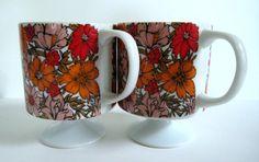 Mid Century Flower Power Mugs / Vibrant Orange by OwlInAnIvyBush