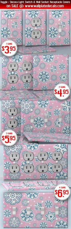 DIY Do It Yourself Home Decor - Easy to apply wall plate wraps | Pink Winter Pink background and blue snowflakes wallplate skin stickers for single, double, triple and quadruple Toggle and Decora Light Switches, Wall Socket Duplex Receptacles, and blank decals without inside cuts for special outlets | On SALE now only $3.95 - $6.95
