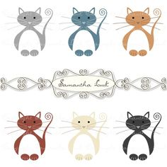 Kitty Cat Clip Art Kit  Commercial Use by samanthaluck on Etsy, £2.00