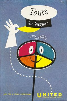 'tours for everyone' - poster issued by united automobile services, 1957, by harry stevens