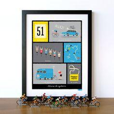 Ciclismo Arte, Tour de Francia, clásica Condiciones Ciclismo franceses Lámina