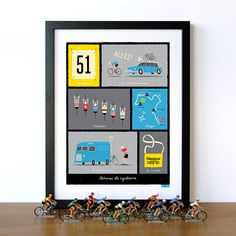 We love all things cycling; including the Classics, the Grand Tours and all the evocative and exciting paraphernalia that goes with it.  Taken from our original illustrations, this giclee art print depicts various terms used as part of common French cycling terminology, including: 'contre la montre' (time trial) and 'une musette' (feed bag) etc. This print would make a lovely gift for your cycling mad friends, family, or as a little treat for yourself!