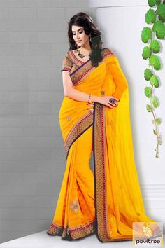 Pavitraa #Glamor Yellow #Color Party #Wear Sarees