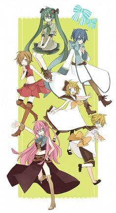Vocaloid Miku, KAITO, MEIKO, Rin, Len, and Luka <3