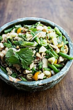 buckwheat noodles with green beans and toasted sesame lime vinaigrette.
