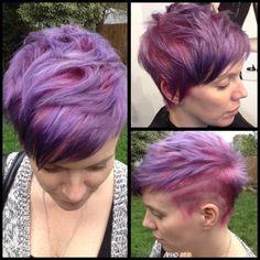 Pastel pink roots and purple ends. Ombré. Short hair. Pixie cut. Davines.