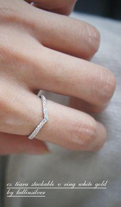 CZ V White Gold Curve Ring at Kellinsilver.com – curve ring, tiara ring, wedding ring curved, curved engagement ring, v ring as ETSY