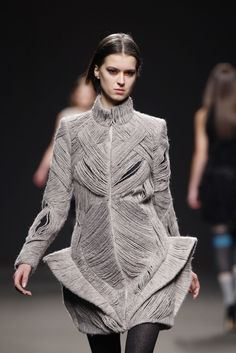 Sculptural Fashion - taupe dress with structural yarn pattern construction & 3D contoured accents // Amaya Arzuaga