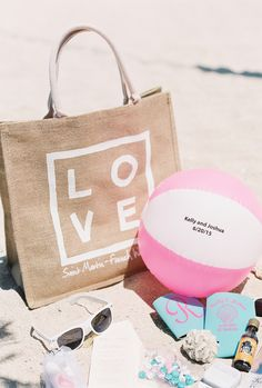 Tropical Wedding Welcome Bags // St. Martin destination wedding