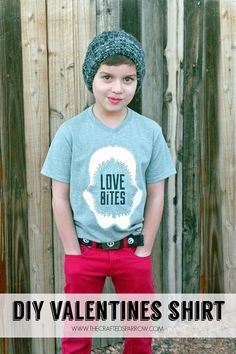 """Creating custom designed t-shirts is so easy to do, try making this fun """"Love Bites"""" DIY Boys Valentine's Shirt for your little guy!"""
