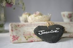 Set of 4 Slate Heart Place Markers - Wedding in a Teacup