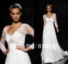 Vestidos De Noiva 2014 New Sexy Irina Shayk A Line V Neck Long Sleeves Appliques Lace Wedding Dresses  Bridal Gown Chapel Train