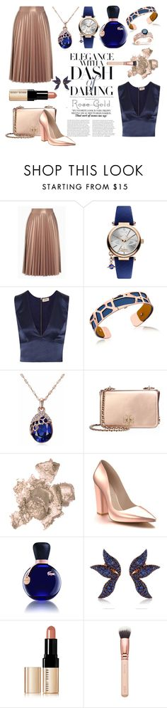 """""""Elegance With A Dash Of Daring #rosegold"""" by shaheenk ❤ liked on Polyvore featuring Vivienne Westwood, L'Agence, Les Georgettes, Tory Burch, By Terry, Shoes of Prey, Lacoste, Buja, Bobbi Brown Cosmetics and ZOEVA"""