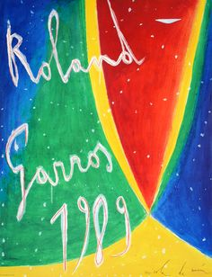 This is an original vintage poster commissioned by the French Open Authority to promote the event held in the Roland Garros Stadium in Paris.This image was created in 1989 by the artist Nicola De Maria in his unique style. The singles winners were Michael Chang in men's and Arantxa Sanchez  in women's. They were both teenagers in 1989 – a first for the French Open.