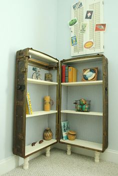 Outfit an old trunk with new lining, shelves, and peg legs for an adorable bookshelf.