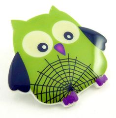 Halloween Owl Pin or Brooch.  Green Spiderweb by outspokenjewelry, $9.99