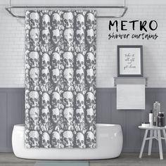 Black and White Shower Curtain Sleeping Panda Print for Bathroom