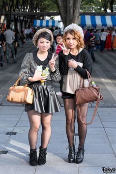 street snaps from Tokyo Girls Collection 2012 Autumn/Winter - featuring Japanese fall fashion trends.FabFashion in Tokyo Gyaru Fashion, Cute Fashion, Japanese Street Fashion, Tokyo Fashion, Fall Fashion Trends, Autumn Fashion, Pantyhose Outfits, Tokyo Street Style, Cute Spring Outfits