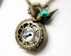 Pocket Watch Necklace with bird charm - steampunk necklace - jewelry