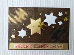 Edle Weihnachtskarte mit Sternen, braun/gold von UNIKAT-die Kreativ-Werkstatt auf DaWanda.com