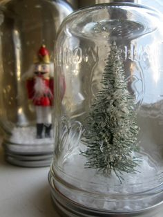 Items similar to Miniature Mason Jar Snow Globe on Etsy Simple Christmas, White Christmas, Christmas Crafts, Christmas Decorations, Four O Clock, Christmas Mason Jars, Winter Wonder, Country French, Art Classroom