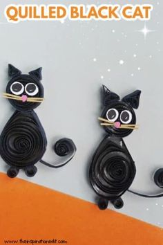 Add these adorable and easy to make Quilled Black Cat Paper Craft to your Halloween decor. These cute paper craft will give more fun to your Halloween party and kids will love it too. #halloween #blackcat #paperquilling #quillingcraft #blackcatquilling #blackcatpaperquilling #kidscraft #halloweencraft #easycraft #papercraft #kidscraft #activitiesforkids #halloweenactivities #halloweendecor Halloween Crafts For Kids To Make, Halloween Art Projects, Cute Kids Crafts, Art Projects For Teens, Animal Crafts For Kids, Halloween Party, Quilling Paper Craft, Quilling Comb, Neli Quilling