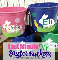 Create this easy and quick Easter Bucket for your little ones to hunt eggs this Easter. This simple DIY vinyl craft project takes less than 1 hour to create Vinyl Craft Projects, Vinyl Crafts, Diy Projects, Diy Gifts To Sell, Crafts To Make, Easy Crafts, Easter Crafts For Kids, Kids Diy, Easter Decor