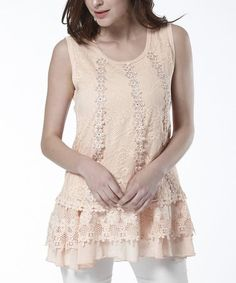 Take a look at this Pink Lace Ruffle Sleeveless Top on zulily today!