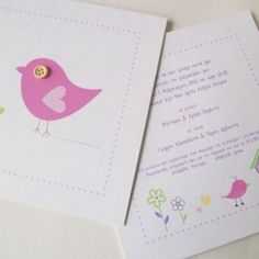 προσκλητήριο βάπτισης κορίτσι με ροζ πουλάκια και λουλουδάκι - craftroom