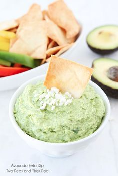 Easy Avocado Feta Dip Recipe on twopeasandtheirpod.com This healthy dip only takes minutes to make!