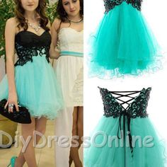 A192 a-line sweetheart neck black lace mint tulle skirt homecoming dresses short prom dresses