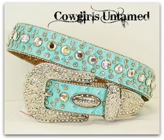 ATLAS BELT Cowgirl Style Rhinestone Studded Crystal Silver Buckle on Aqua Leather Western Belt