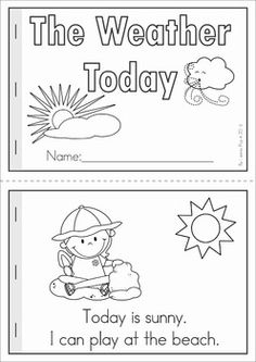 "Weather unit for Preschool and Kindergarten. A page from the unit: ""The Weather Today"" emergent reader (color and black & white) with comprehension questions"