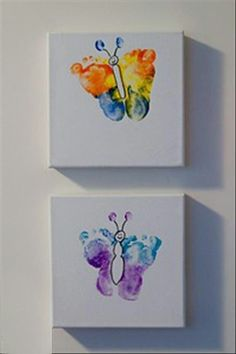 Use your little girl's feet to make a cute butterfly on canvas as a keepsake... <3  My Love Bug now has one on her wall :)