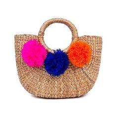 Beach Basket Mini 3 Pom Multi ($115) ❤ liked on Polyvore featuring bags, handbags, pom pom bag, mini bags, miniature purse, beach bag and beach purse
