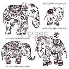 Illustration of Set of hand drawn isolated ethnic elephants vector art, clipart and stock vectors. Henna Elephant, Elephant Love, Elephant Tattoos, Elephant Outline, Indian Elephant Art, Mandala Elephant Tattoo, Tribal Elephant, Elephant Tattoo Design, Elephant Design