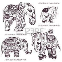 Set von Hand gezeichneten isolierten ethnischen Elefanten Lizenzfreie Bilder