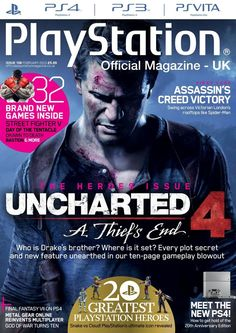 Official PlayStation Magazine 106. Uncharted 4. 20 gratesr PlayStation heroes.
