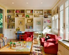 kid friendly family rooms   Family's Needs: Playful Kids Room Red Accents Chair Family Friendly ...